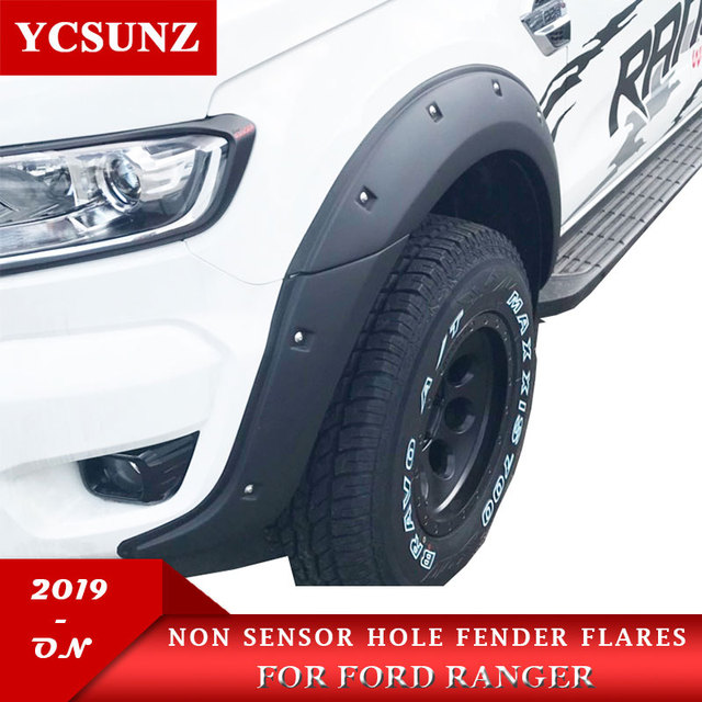 2019 Wheel Arch Fender Flares With Nuts Mudguards For Ford Ranger 2019 MK3 T8 Wildtrak Double Cabin 9 Inch NON Sensor Hole