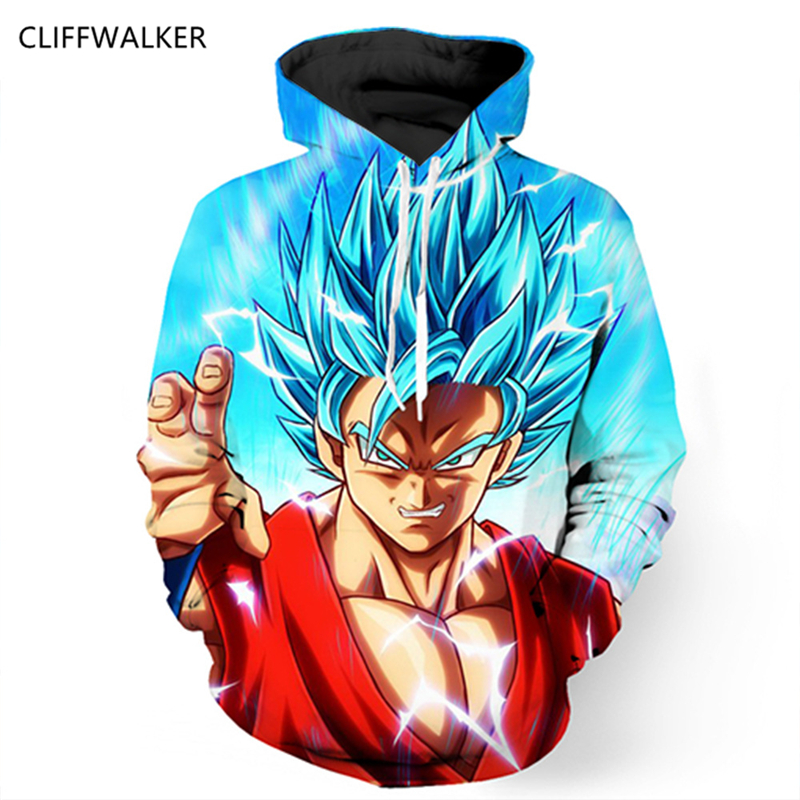 Anime 3D Hooded Sweatshirt Men Dragon Ball Z Super Saiyan Printed Men Hoodies Hip Hop Style Casual Sweat Cosplay US Size