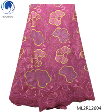 BEAUTIFICAL plum purple french african swiss voile lace Pattern design stones cotton fabric high quality ML2R126