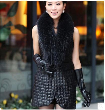 2019 Womens Spring Autumn Long Patchwork Pu Leather Vests Man Made Fur Stitching Waistcoats Black Vest Coats Plus Size K222
