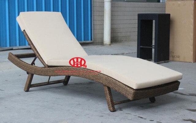 Moderne élégant meubles extérieurs en osier pas cher patio jardin en rotin chaise longue