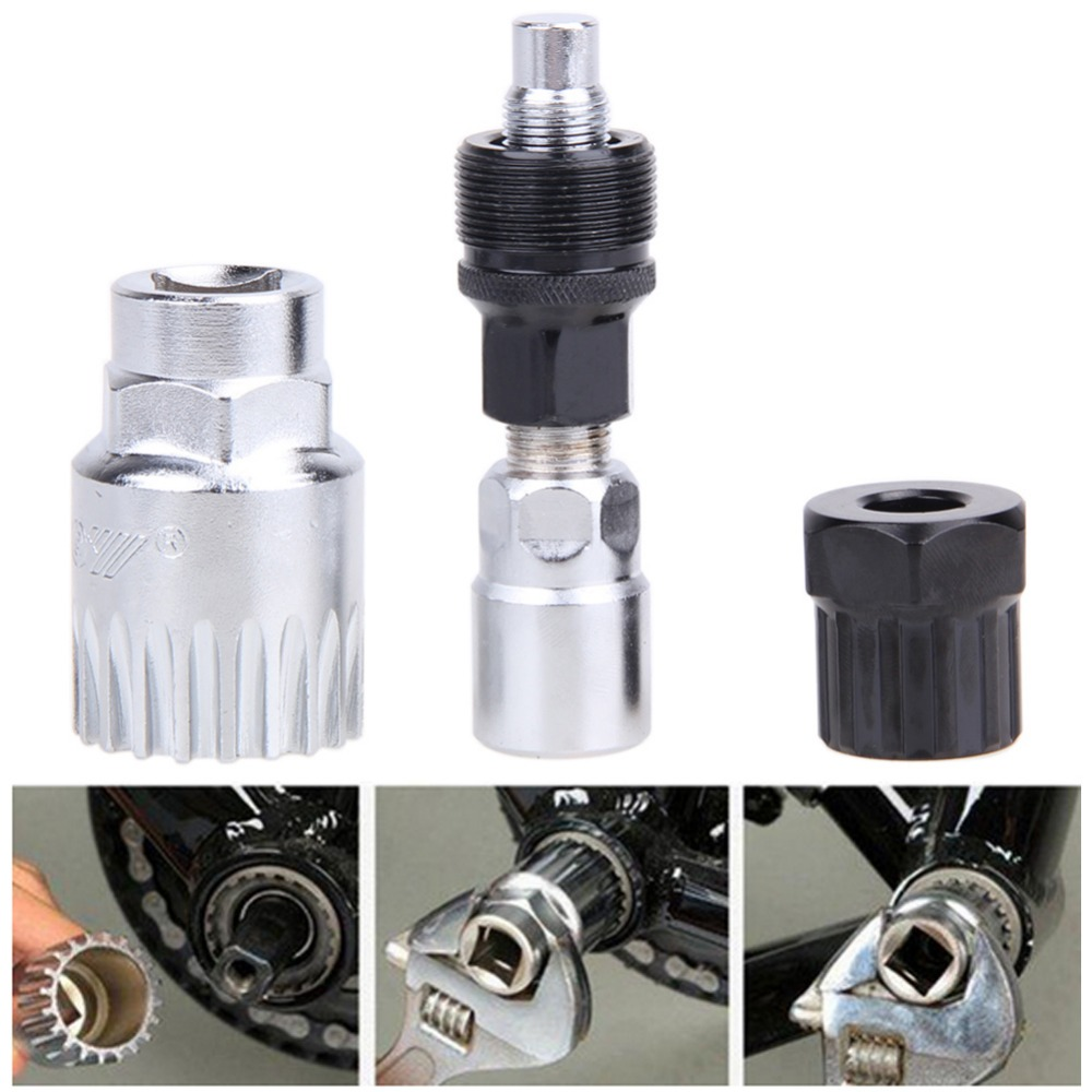 MTB Crank Wheel Extractor Bottom Bracket Cycling Freewheel Removal tools Mountain Crankset Pedal Remover Repair Tool Silver hot
