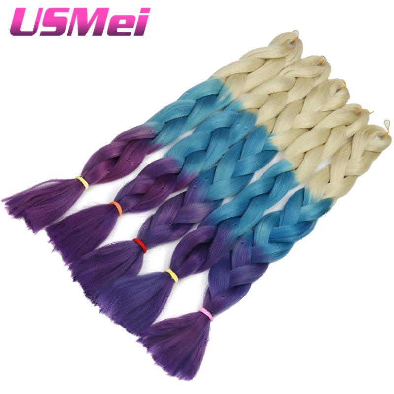 USEMI Synthetic hair pieces Two Tone Ombre Braiding Hair High Temperature Fiber 5 piece lot 32