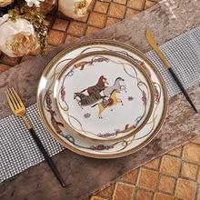 Роскошные боевой конь Набор посуды набор Королевский праздник Цзиндэчжэнь фарфоровая тарелка с вестерном блюдо для домашнего свадебного украшения подарки