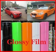 "1 pc 1.52MX0.5M Glossy vinyl film 59.84"" X 19.69"" bright Glossy car warp sticker with bubble free FREE SHIPPING"