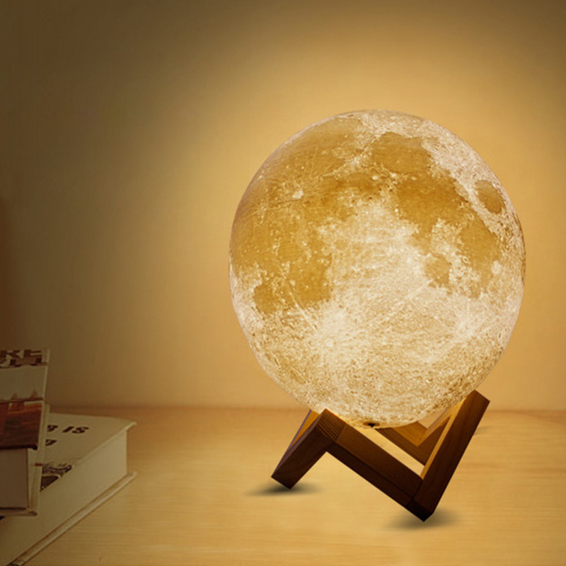 LED Moon lamp 3D Print Moons light Night lights Rechargeable Bedside Baby 39 s night Light Desk Decor Novelty Gift Touch 2colors in Night Lights from Lights amp Lighting