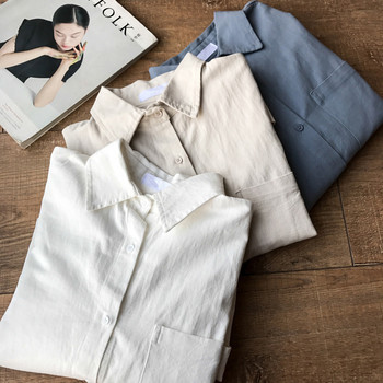 ZHISILAO Chic Solid Shirts Long Sleeve Cotton Linen Blouse Plus Size Shirts Oversize White Blouse Maxi Boyfriends Chemisier 6