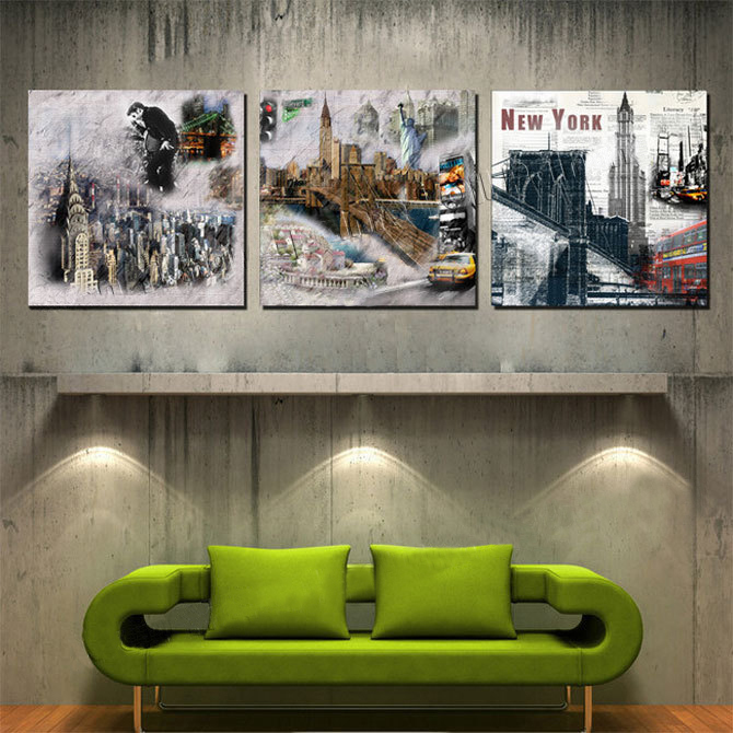 3 Piece Wall Art Home Decor Picture Print Set New York City Style Painting Canvas With No Frame