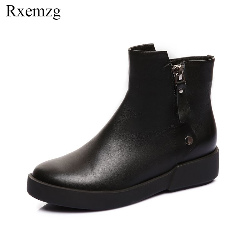 Rxemzg genuine leather womens vintage ankle boots 2018 autumn winter newest comfortable flat zipper boots casual shoes womanRxemzg genuine leather womens vintage ankle boots 2018 autumn winter newest comfortable flat zipper boots casual shoes woman