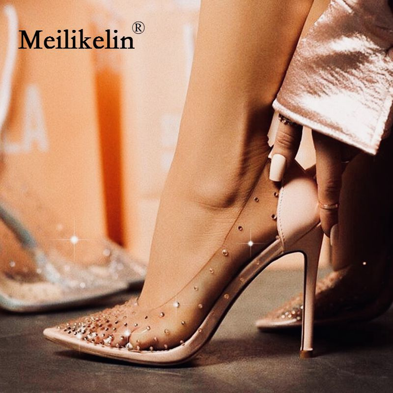 2019 sexy Rhinestone women's pumps Red wedding shoes spring summer stilettos high heeled PVC party dress femme shoes apricot 40