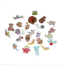 LF 50pcs Mixed Animals Wooden Buttons For Clothing Flat Back Embellishments Crafts Decorative Botones With 2 Holes