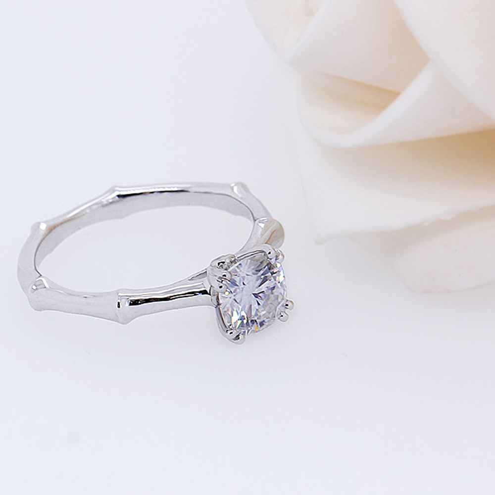 DovEggs Classic 14K 585 White Gold Center 1ct 6mm GH Color Moissanite Diamond Engagement Ring for Women Anniversary Wedding Ring in Rings from Jewelry Accessories