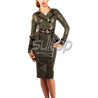 Women 's Latex Rubber Military uniforms Jacket and skirts cosplay Army costumes SUITOP
