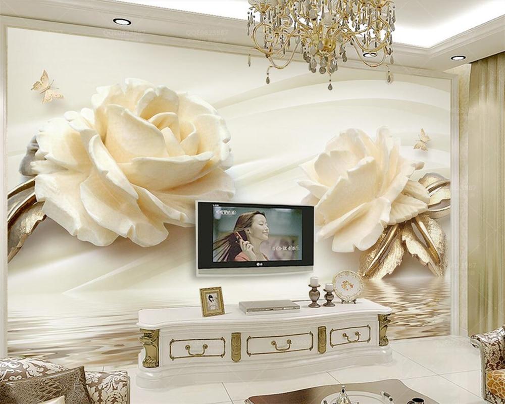 Beibehang Custom wallpaper 3d Champagne rose water wave reflection TV background wall living room bedroom murals 3d wallpaper