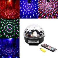 Voice Control RGB LED Mini Crystal Magic Ball Stage Light Rotating Lights KTV Bar Compartment Lights