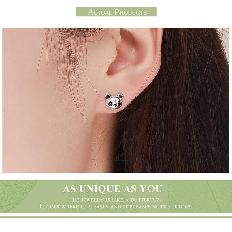 HTB1sQuQtkSWBuNjSszdq6zeSpXa4 BAMOER Genuine 100% 925 Sterling Silver Animal Collection Cute Panda Stud Earrings for Women Sterling Silver Jewelry SCE386