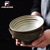 Japanese style Coarse Pottery Tableware Handmade Vintage Ceramic Bowl Soup Rice Bowls Home Noodle Bowls Fruit Salad Container