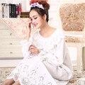 2016 Camisolas da Moda Outono Longa Camisola Princesa Pijamas De Algodão Branco da folha de Lótus Das Mulheres Sleepshirts