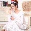 2016 Fashion Nightgowns Women Autumn Long Nightdress Princess White Cotton Sleepwear  Lotus leaf Sleepshirts