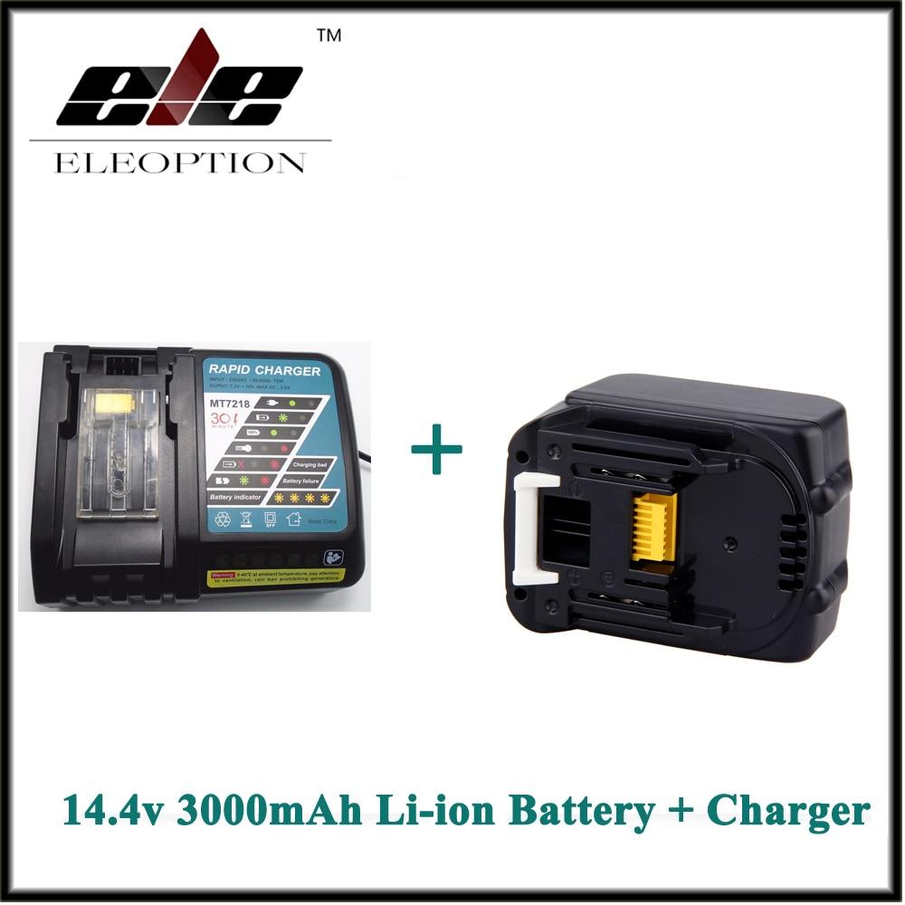 Eleoption 3000mAh 3.0Ah 14.4V Li-ion Rechargeable battery for Makita BL1415 BL1430 BL1440 + Charger eleoption high quality 12v 3000mah ni mh battery for makita 1234 1235 1235f 193138 9 192698 a