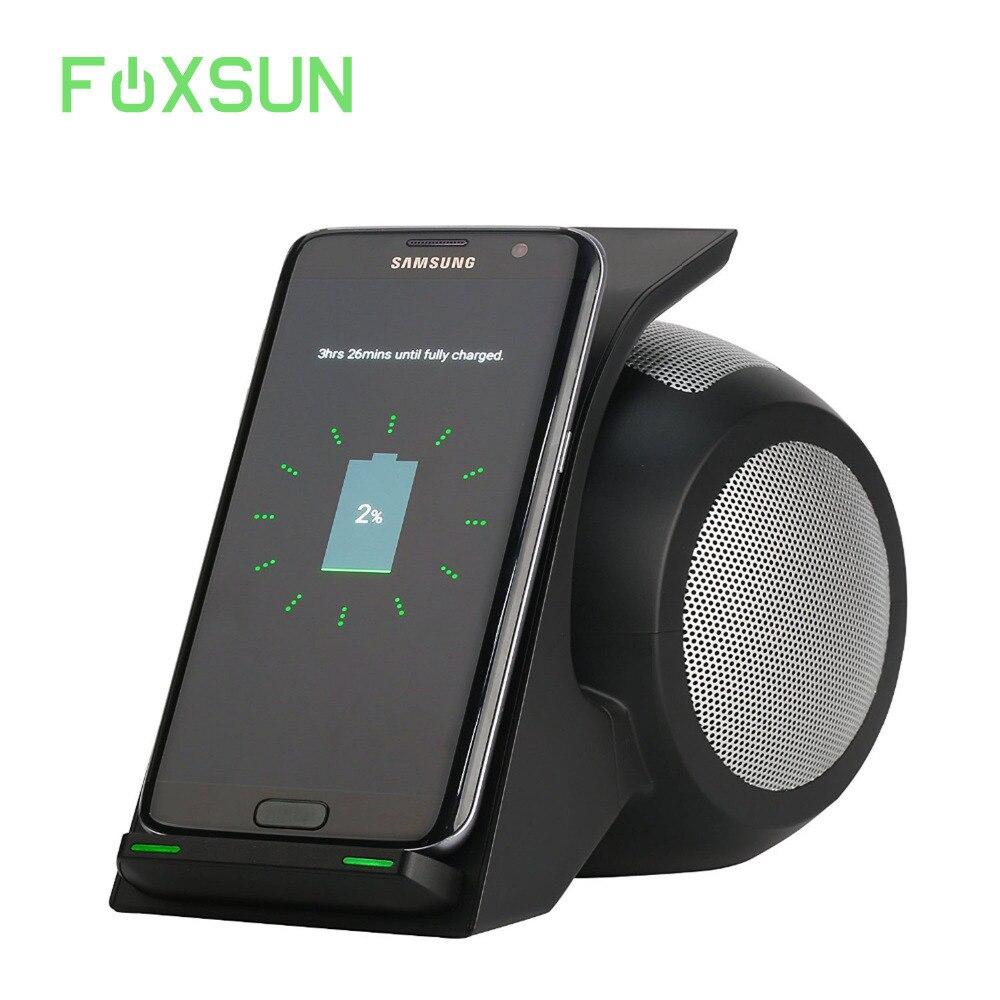 Cargador inalámbrico rápido con Altavoz Bluetooth para Samsung Galaxy S9/iPhone X/8/8 Plus y otros teléfonos móviles con función Qi