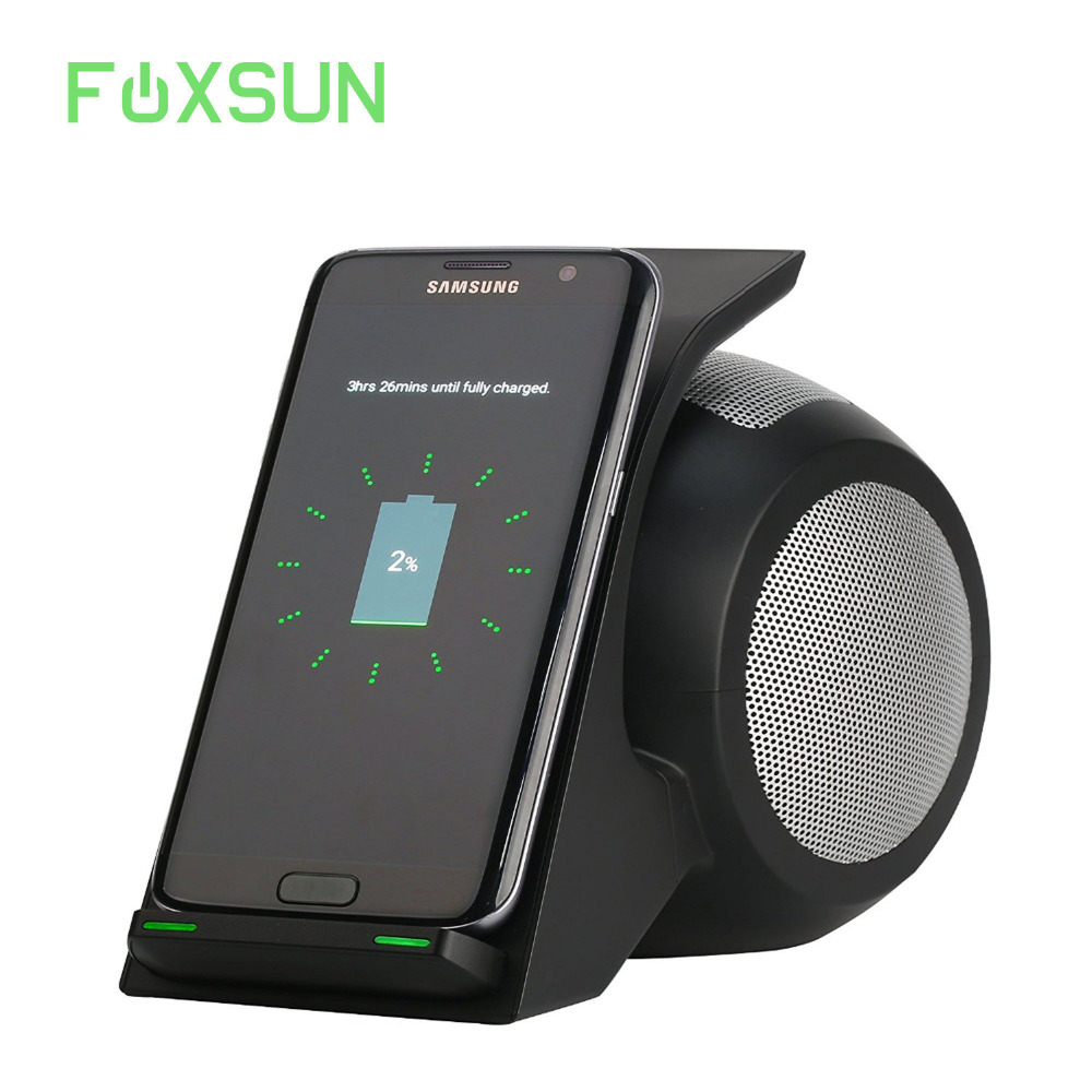 Fast Wireless Charger with Bluetooth Speaker For Samsung Galaxy S9 / iPhone X/8/8 Plus and Other Mobile phones with Qi Function ...