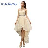 Best Sale 2014 Crystal Sashes Sleeveless Pleat Chiffon Short Front Long Back Bandage Evening Dresses
