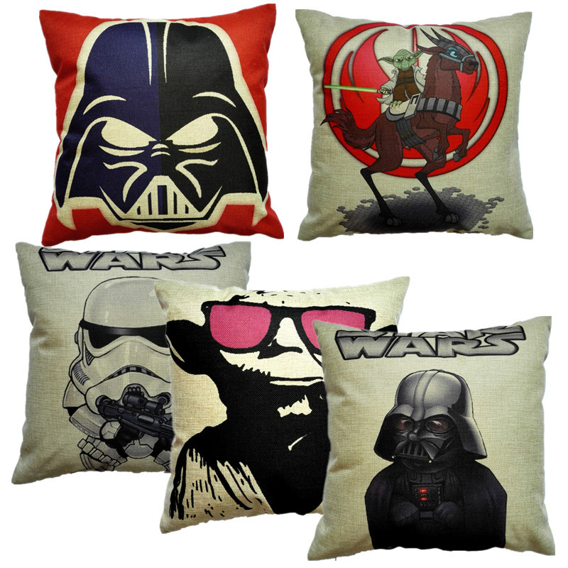 Classic Film Star Wars Square 18 Inches Characters Symbol Pillow Case Master Yoda Cushion Cover Bedroom Sofa Decoration