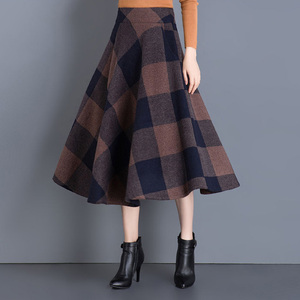 Image 3 - VANGULL Printed Plaid woolen Skirt 2019 Autumn new Plus Size High Waist Ball Gown Skirt Winter Casual Large swing Thick Skirts