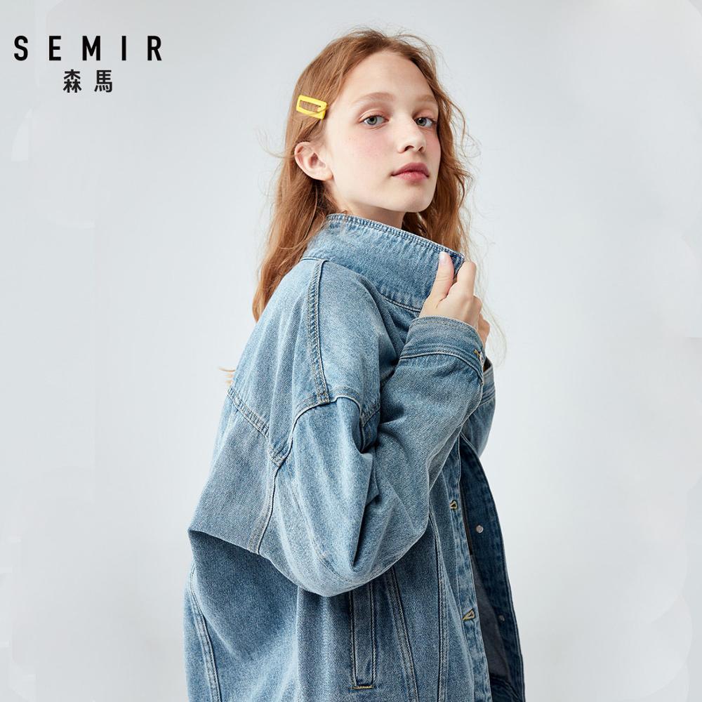 SEMIR Women 100% Cotton Oversized Denim Jacket With Collar Boyfriend Denim Jacket With Chest Pocket And Slant Pocket Chic Style