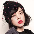 Kesebi 2017 New Hot Women European British Gauze Stitching Cute Caps Hats Female Striped Spring Autumn Knitting Skullies Beanies