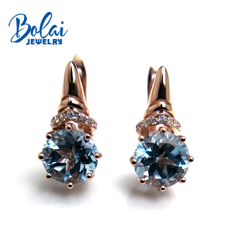 Bolaijewelry natural sky blue topaz round8 0mm gemstone fashion clasp earring 925 sterling silver fine jewelry