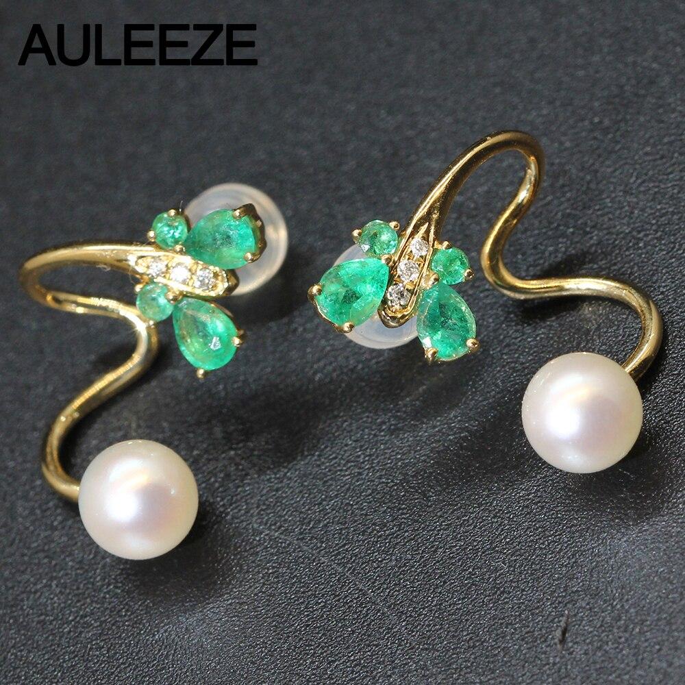 Boucles d'oreilles uniques en forme de papillon émeraude naturelle 14 K or jaune boucles d'oreilles en perles Akoya pour femmes boucles d'oreilles en diamant véritable naturel