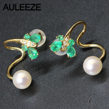 Unique Butterfly Shape Natural Emerald Jewelry 14K Yellow Gold Akoya Pearl Earrings For Women Natural Real Diamond Earrings