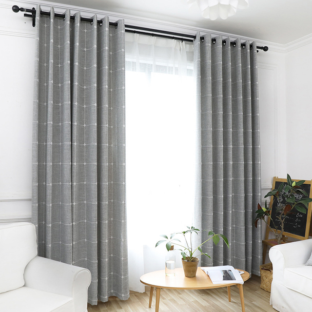 Linen Plaid Curtains For Living Room Yarn Dyed Modern Window Curtains For  Bedroom Thick Curtain Kitchen