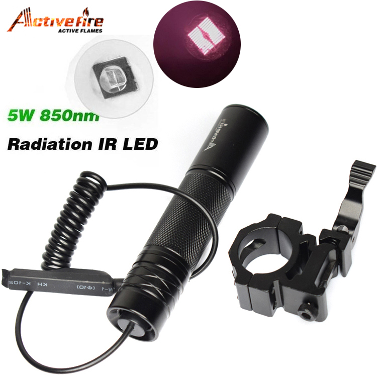 10W IR 850nm LED Flashlight Torch Long Range Infrared  Hunting Light Night Vision IN Mount Pressure Switch
