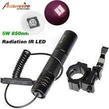 10w ir 850nm led ir led lanterna tocha de longo alcance infravermelho caça luz visão noturna tocha na montagem interruptor pressão