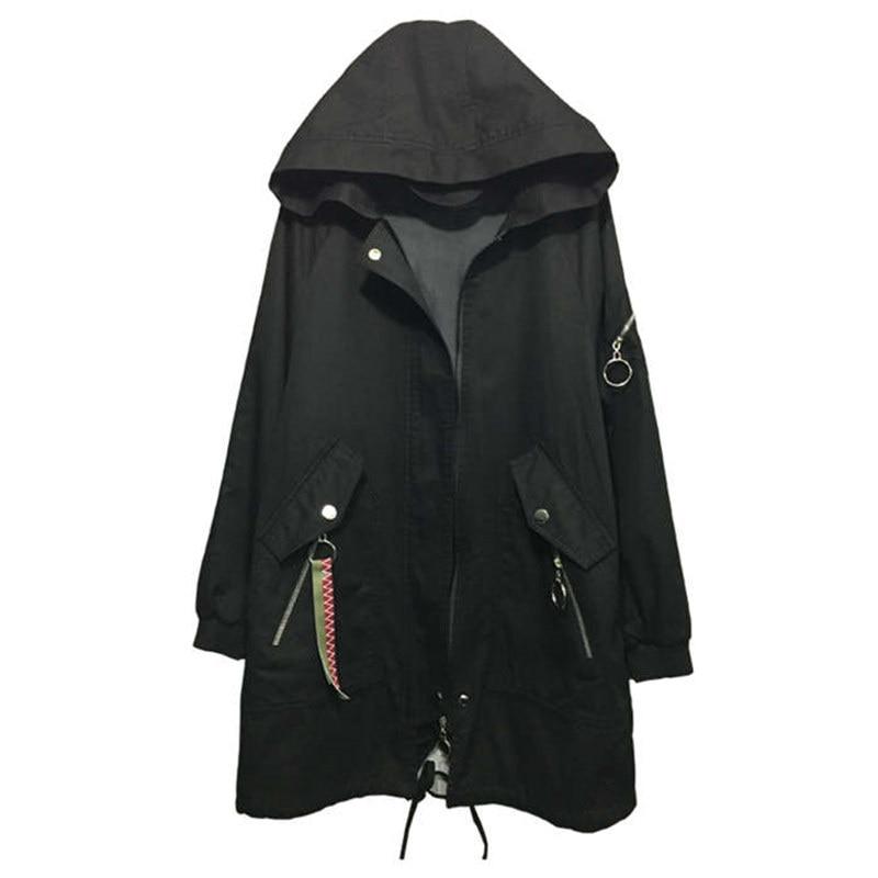 Plus Black vent De Noir Cardigan Automne Lâche Manteau Femmes La Coupe Harajuku Taille Tranchée armygreen Longue Pardessus Hoodies Mode Femelle 4xl EIWDH29