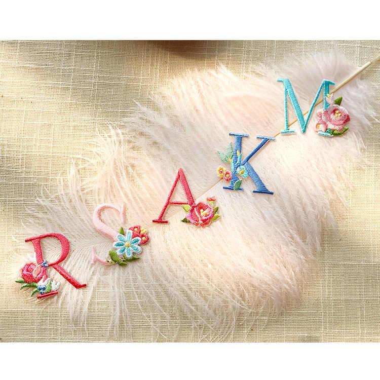 26 letras inglesas bolo rosa flor remendos para o vestido de casamento ferro em renda applique para roupas diy acessório nome remendo