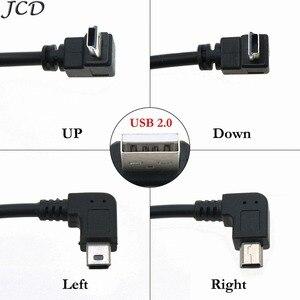 JCD USB 2,0 A штекер для Mini 5 Pin левый Угловой 90 штекер 90 градусов кабель для передачи данных Шнур вверх/вниз/влево/вправо угловой удлинитель