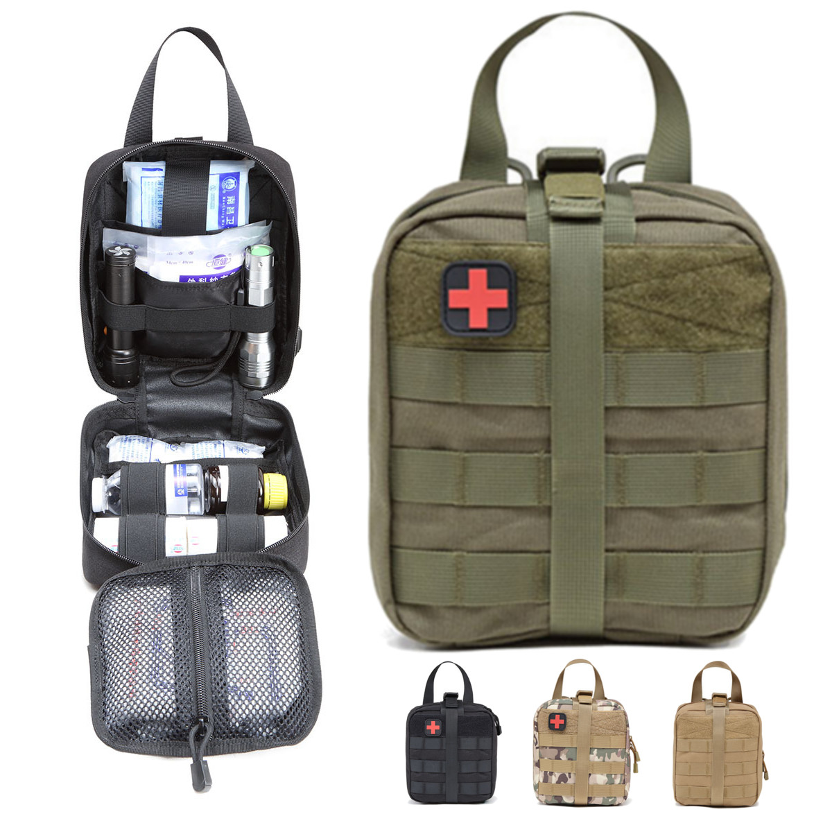 Tactical First Aid Kit Pouch Survival Medical Bag Portable Pouch Emergency Travel Outdoor Mountaineering Climbing Lifesaving Bag