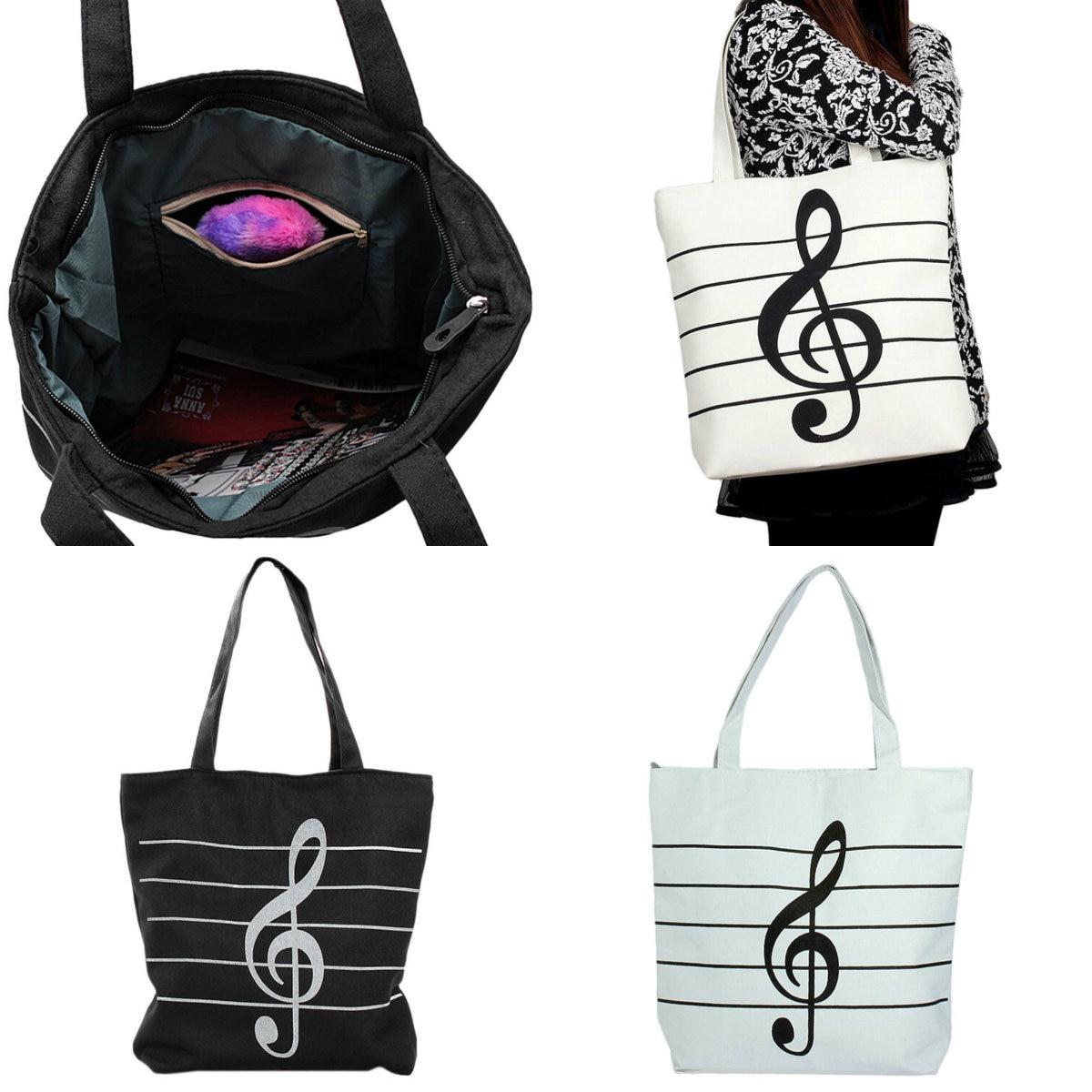 1PC Women Girl Travel Bag Casual Canvas Music Notes Handbag School Satchel Tote Shopping Bag Shoulder Casual Tote Shoulder Bags