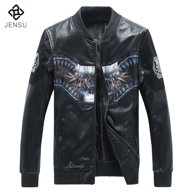 New Fashion Designed Men Jackets Leather PU Coats 2017 Spring Autumn Men Slim Fits PU Leather Jackets 5XL Plus Size Casual Coats