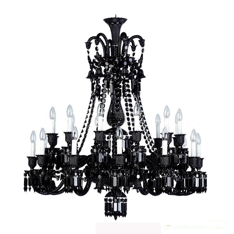 Black Chandelier For Living Room 24 Arm Retro Large Crystal Chandeliers Led Home Lighting Bedroom In From Lights