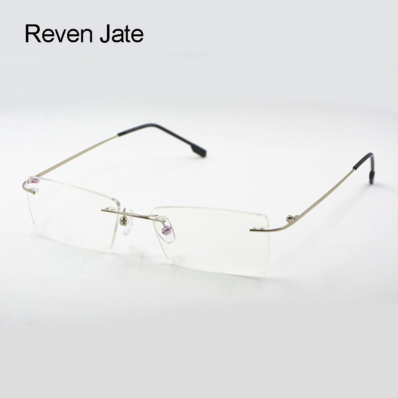 Reven Jate Titanium Memory Fleksibel Rimless Frame Eyeglasses Optical Prescription Glasses til Kvinder og Mænd Frame Shape Customed