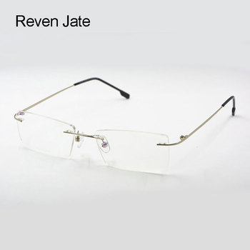 Reven Jate Titanium Memory Flexible Rimless Frame Eyeglasses Optical Prescription Glasses for Women and Men Frame Shape Customed reven jate ej85351 spectacles optical fashion titanium eyeglasses frame for men eyewear full rim glasses with 3 optional colors