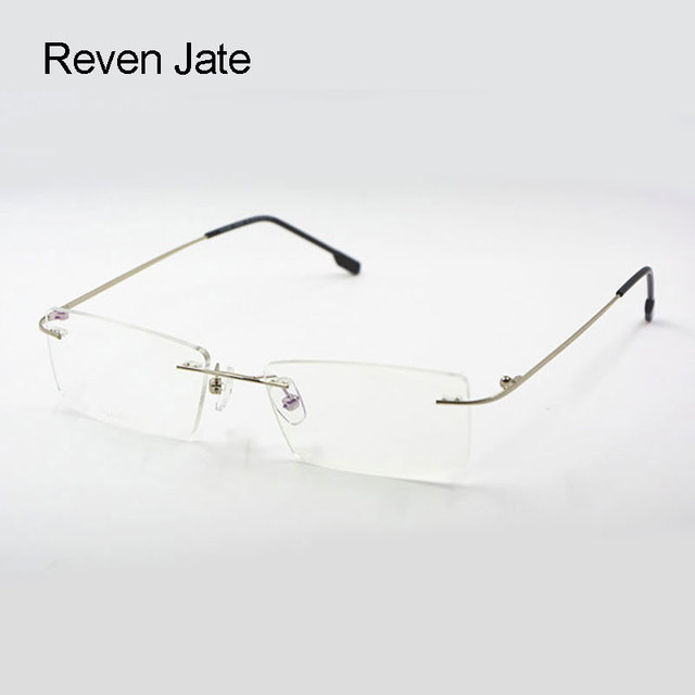 Reven Jate Titanium Memory Flexible Rimless Frame Eyeglasses Optical ...
