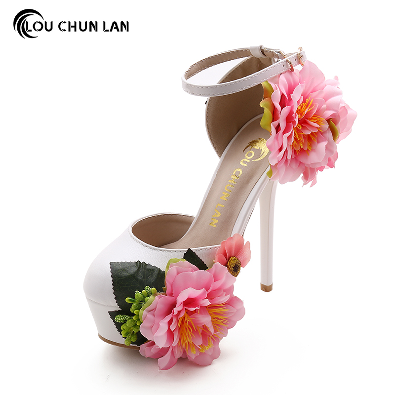 Shoes Women'S Shoes Pumps Wedding Shoes Beautiful fashion flowers butterfly High heeled bride Shoes Platform dress sandals