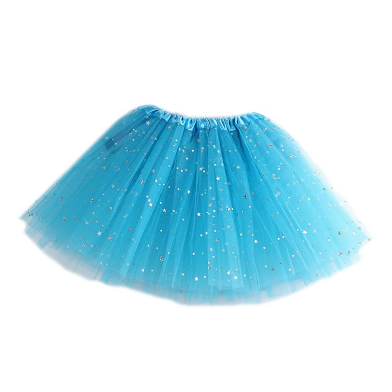 Girls Multi Layered Tutu Skirt Ballet Dance Costume Glitter Star Sequins Satin Elastic Waistband Underskirt Mini Dress