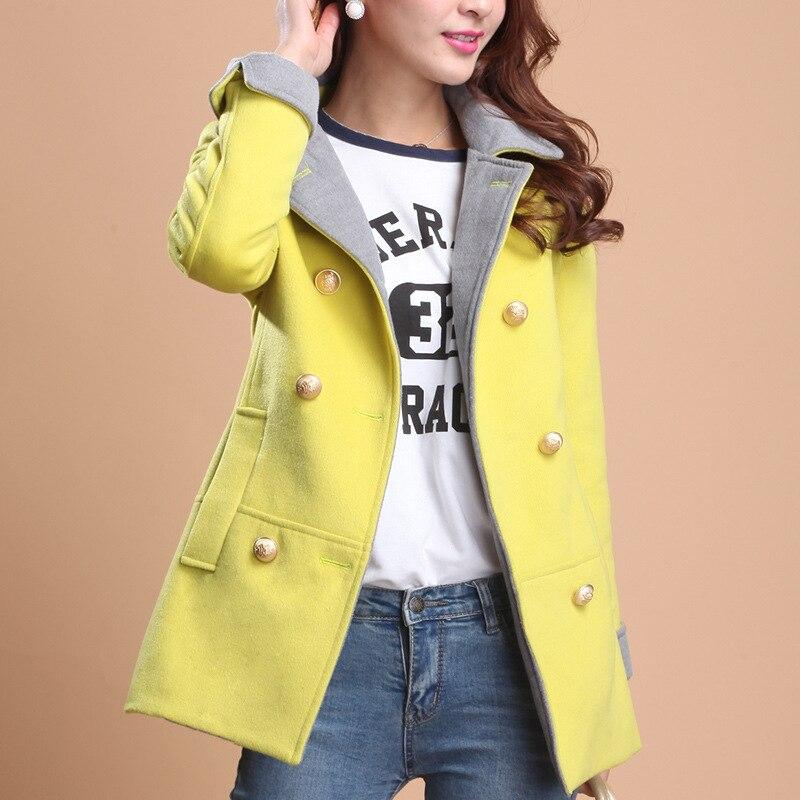 Elegante Signore Delle Lunghe yellow Red Bavero Cappotto E orange Maniche Temperamento Di Lana rose Femminile Inverno A Navy Nuovo Modo Autunno 2018 Sottile BxFq8aY0wx
